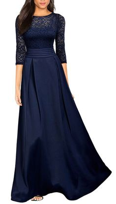 This is a lovely long formal gown available in three color choices. It's made of 100% polyester, has a scoop neck line, 2/3 Sleeve, and an elegant lace pattern. It has a runched waist and a zipper in back. Available in US sizes 4 - 20. This item ships within seven days to US addresses. 📦 Gala Dresses, Prom Dresses With Sleeves, Mob Dresses, Fashion Dresses, Party Dresses, Evening Gowns With Sleeves, Maxi Dress Wedding, Bridesmaid Dresses, Lace Maxi