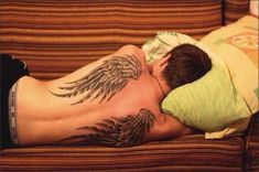 wings: #tattoosformenonback #wingstattoosonback