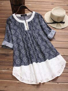 Embroidery Hollow Print Patchwork Blouses We share the most beautiful and new dress patterns for you Folk Fashion, Diy Fashion, Trendy Fashion, Ideias Fashion, Womens Fashion, Cheap Fashion, Ladies Fashion, Fashion Rings, Spring Fashion