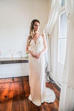 Jennifer Go Bridal - Taylor gown, heavy liquid silk satin and beaded trim
