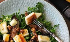 Σαλάτα με μανιτάρια πλευρώτους, χαλούμι, ξινόμηλο και βινεγκρέτ Salad Bar, Soup And Salad, Wild Mushrooms, Stuffed Mushrooms, Recipe For Success, Pleasing Everyone, Healthy Recipes, Healthy Food, Soul Food