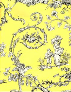 Paysannerie Toile de Jouy Wallpaper. Black on yellow scenic wallpaper with a scrolling leaf design, to give new like to a plain wardrobe.