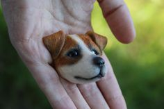Брошь из полимерной глины в форме головы песика - джек рассел терьера. Специально для любителей этой бесконечно веселой и энергичной породы собак! Размеры броши - 5,3 см ( вместе с ушками) на 3,6 см. С обратной стороны - булавка для крепления.