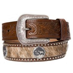 Men's 3D Brindle Hide With Cowboy at Cross Concho Belt