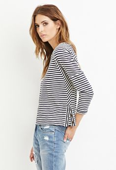 Contemporary Striped Button-Vent Top | Forever 21 - 2000157632