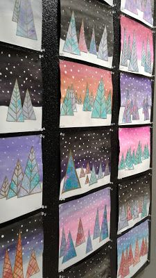 a faithful attempt: Contemporary Evergreen Trees Mixed Media Collage Christmas Art Projects, Winter Art Projects, Third Grade Art, Kids Watercolor, Ecole Art, Virtual Art, Art Lessons Elementary, Art Classroom, Art Plastique