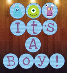 A baby boy is on his way! This fun, customized banner is also a great keepsake for a baby memory book! Can also be customized for a baby Monsters Inc Baby Shower, Monster Baby Showers, Baby Shower Themes, Baby Boy Shower, Shower Ideas, Monster Inc Party, Baby Memories, Printable Banner, Custom Banners