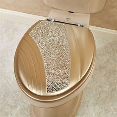 Glamour Elongated Toilet Seat Champagne Gold Foil Standard  and Future