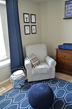 Navy and grey baby boy nursery