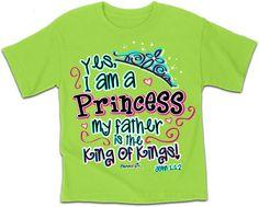 Small- Large Yes I am a Princess - Kids Christian T-Shirt - JTbliss