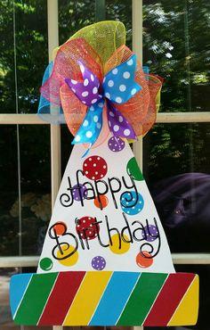 Birthday Door Hanger.  Birthday Hat Hanger. by MoniLulis on Etsy