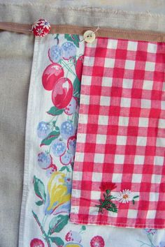 """Vintage tablecloths turned into apron...great way to use """"not perfect"""" linens"""