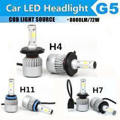 1pair H4/H7/H11 COB LED Car Headlight Bulb Single/Hi-Lo Beam 8000LM 6500K Auto Led Headlamp Fog Light for Toyota/Ford/VW/Hyundai