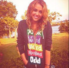 Miley Cyrus black colorful jacket