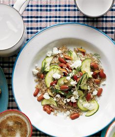 Zucchini and Bean Salad With Bulgur - Chopped almonds add a little crunch to the softened zucchini.