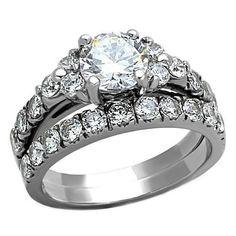 Phoebe: 3.6ct IOF CZ Shoulder Accented 2 Pc Wedding Ring Set 316 Steel - Trustmark Jewelers