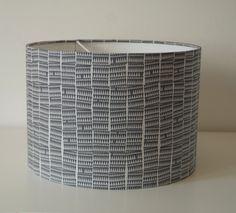 Mid Century Modern Scandi Style Lampshade-handmade 30cm Drum-Carolyn Friedlander Fabric -Doe-in Sharp Grey £30
