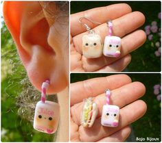 Teddy sandwich and juice - fake ear plug by Bojo-Bijoux.deviantart.com on @deviantART