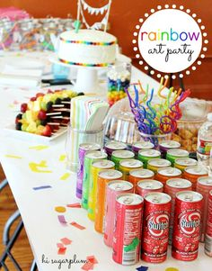 Hi Sugarplum | Rainbow Art Party / rainbow themed decorations & food + painting canvases at an art studio = adorable kid's b-day party