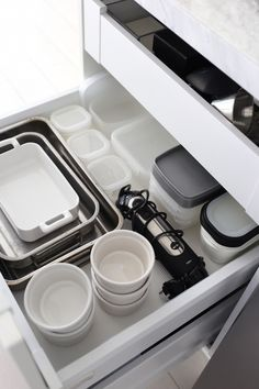 Homevialaura | white kitchen | our collection of tableware | Revol | Emile Henry Closet Organization, Kitchen Organization, Kitchen Storage, Old Kitchen, Kitchen Dining, Kitchen Decor, Black And Grey Kitchen, Lets Stay Home, Konmari