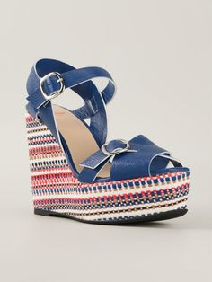 Electric blue leather 'Fay' wedge sandals from Castañer