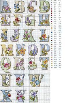 Alfabeto fiori vari a punto croce Cross Stitch Letters, Just Cross Stitch, Cross Stitch Flowers, Cross Stitch Charts, Cross Stitch Designs, Embroidery Alphabet, Embroidery Patterns, Stitch Patterns, Cross Stitching