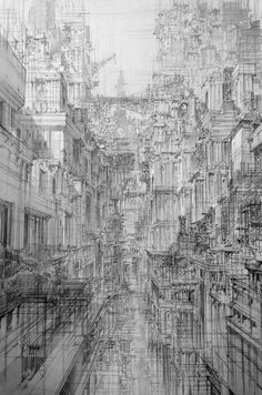 Infinite Cities Take Shape in Imagined Architectural Drawings by JaeCheol Park is part of Line drawing - Colossal Art, design, and visual culture Art Sketches, Art Drawings, Concept Art Landscape, Art Et Architecture, Vintage Architecture, Architecture Student, City Drawing, Drawing Drawing, City Sketch
