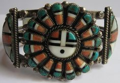 FABULOUS VINTAGE ZUNI INDIAN STERLING SILVER INLAID CORAL TURQUOISE SUN GOD BRACELET