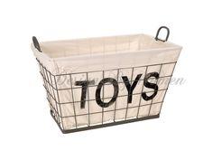 Metalowy kosz na zabawki TOYS - Przechowywanie zabawek - zdjęcia, pomysły, inspiracje - Homebook