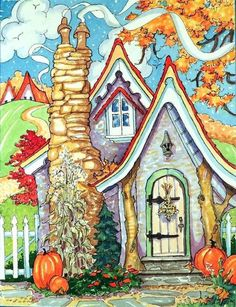 """Daily Paintworks - """"Shades of a Carmel Autumn Storybook Cottage Series"""" - Original Fine Art for Sale - © Alida Akers Fairytale Cottage, Storybook Cottage, Cute Cottage, Cottage Art, Woodlands Cottage, Illustrations, Illustration Art, House Drawing, Autumn Art"""