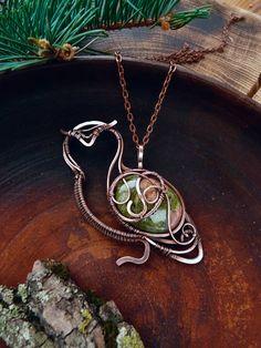Owl necklace jasper - wire wrapped pendant - Nature lovers jewelry - Bird pendant - Art jewelry - Unique gift idea