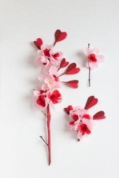 Valentines Paper Blossom Ornaments by Susan Beech #paperflower