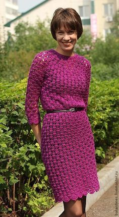Купить Платье вязаное крючком Вязаное платье Ирис полушерсть - вязаное платье…