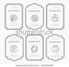 Illustration of Customizable black and white Pantry label collection. Vintage packaging design templates for Herbs and Spices, dried fruit, vegetables, nuts etc vector art, clipart and stock vectors. Vegetable Packaging, Spices Packaging, Fruit Packaging, Herb Labels, Spice Labels, Pantry Labels, Vintage Packaging, Vintage Labels, Vintage Pantry