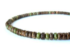 """Tribal men's jewelry - camo green gemstone and wood necklace for men. """"Camo"""" on Etsy, $78.00"""
