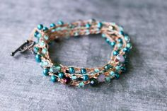 Hey, I found this really awesome Etsy listing at https://www.etsy.com/listing/279499060/4x-turquoise-beaded-bracelet-wrap