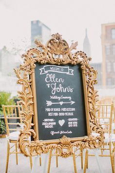 Chalk wedding signage | Photo by Sylvia Photography | Read more - http://www.100layercake.com/blog/?p=68388