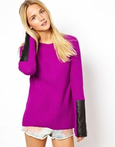 Image 1 of ASOS Chunky Jumper With Leather Look Sleevekn