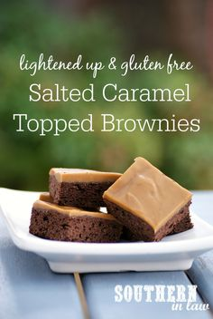 With a fudgy brownie base and thick layer of decadent caramel, you would never guess this Salted Caramel Topped Brownie Recipe was lightened up or gluten free! It is deceptively simple and easy to make whilst also lower fat, lower sugar and absolutely delicious!