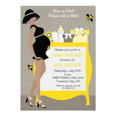 These bumble bee baby shower invitations feature an African American mom-to-be. So trendy and chic for the stylish expecting mother. This baby shower invitation will match most bumble bee themes. Fiesta Baby Shower, Baby Shower Parties, Baby Shower Themes, Shower Ideas, Shower Party, Shower Gifts, Baby Unisex, Invitaciones Baby Shower Niña, Bee Gender Reveal