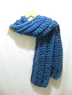 Dark Jewel Sapphire Blue Multi-colored Crochet Soft Thick Long Scarf by BenitaMarie on Etsy