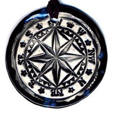 Compass Ceramic Necklace in Blue Black by surly on Etsy, $22.00