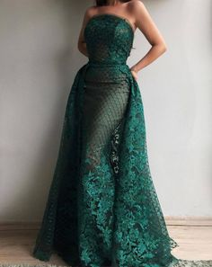 2019 Luxury Dark Green Lace Sequins Strapless Evening Dresses with Train Long Formal Dress Party Vestido Dubai Robe De Soiree Ball Dresses, Ball Gowns, Prom Dresses, Formal Dresses, Dinner Gowns, Evening Gowns, Long Evening Dresses, Elegant Dresses, Beautiful Dresses