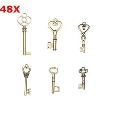 48Pcs Vintage Bronze Key For Pendant Necklace Bracelet DIY Handmade AAccessorie.s Decoration