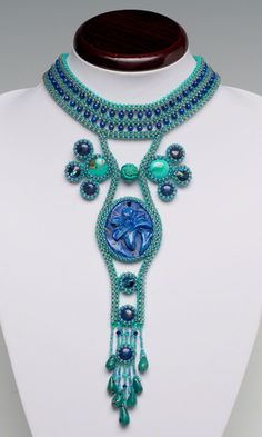 Bib-Style Necklace with Gemstone Beads and Cabochons, Seed Beads and Swarovski Crystal Rivoli Sew-Ons and Seed Beads