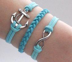 Antique Silver Bracelet, Sailor bracelet, Anchor Jewelry, Blue Bracelet, Simple Bracelet, Everyday Bracelet - Choose Your Anchor And Color