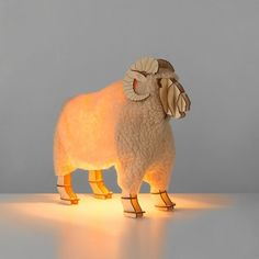 A wooden ram table lamp with decorative fleecy coat & vintage wooden slatted design. Shabby chic & lots of character, buy unusual lighting at The Glow Company The Glow Company, Disco Lights, Home Comforts, Sensory Toys, Eclectic Style, Fairy Lights, Dinosaur Stuffed Animal, Lion Sculpture, Shabby Chic