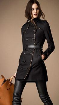 Mid-Length Animal Print Leather Trim Trench Coat | Burberry