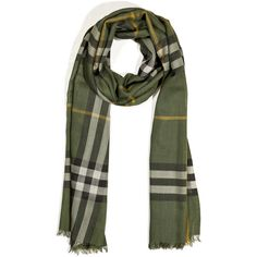 BURBERRY LONDON Olive Giant Check Wool-Silk Gauze Scarf ($400) ❤ liked on Polyvore