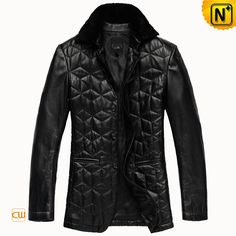 Men's Checkered Slim Black Real Sheepskin Leather Coat CW833619 $628.89 - www.cwmalls.com